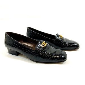 Etienne Aigner Valentine Leather Loafers Black 6.5